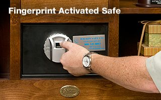 Armoire with fingerprint activated safe