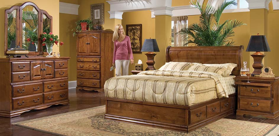 Bedroom Furniture, Bedroom Sets, Dark Alder Hardwood Furniture